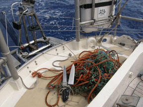 Fishing gear removed from prop